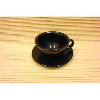 Fekete teáscsésze csészealjjal