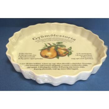 Porcelán gyümölcstorta sütő - körtés