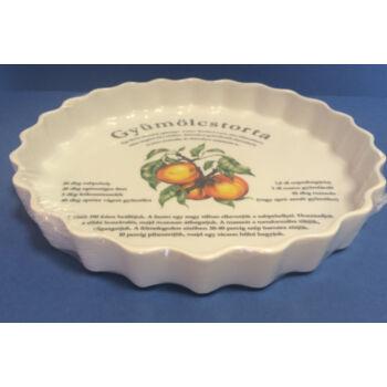 Porcelán gyümölcstorta sütő - barackos mintával