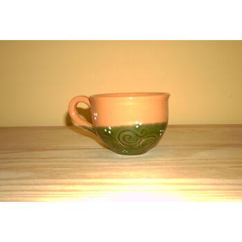 Kávéscsésze zöld-barna