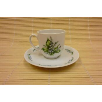 Kávés csésze aljjal - gyöngyvirágos