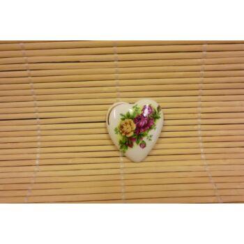 Hűtőmágnes - szív - három rózsás