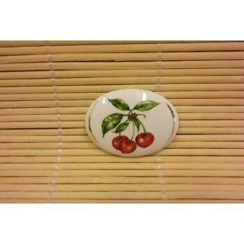 Hűtőmágnes - ovális - cseresznye