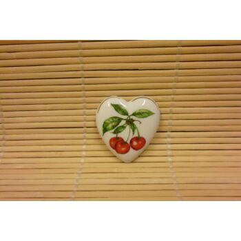 Hűtőmágnes - szív - cseresznye
