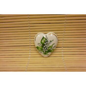 Hűtőmágnes - szív - gyöngyvirágos